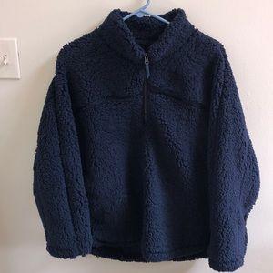 Navy Blue Sherpa Coat